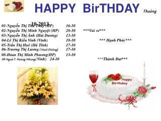 HAPPY  BirTHDAY Thaùng 10-2013