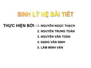 SINH L� H? B�I TI?T