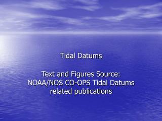 Tidal Datums
