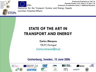 STATE OF THE ART IN  TRANSPORT AND ENERGY