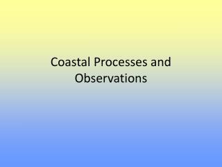 Coastal Processes and Observations