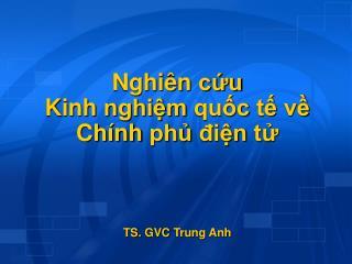 Nghiên cứu Kinh nghiệm quốc tế về Chính phủ điện tử TS.  GVC Trung Anh