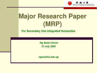 Major Research Paper (MRP)