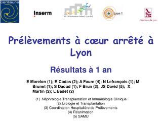 Prélèvements à cœur arrêté à Lyon Résultats à 1 an