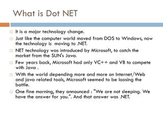 What is Dot NET