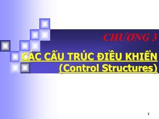 CÁC CẤU TRÚC ĐIỀU KHIỂN (Control Structures)