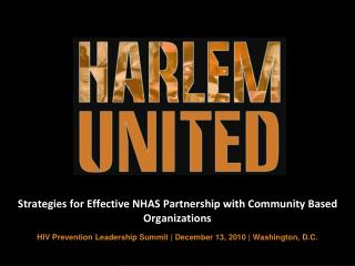 Strategies for Effective NHAS Partnership with Community Based Organizations