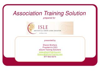 Association Training Solution prepared for