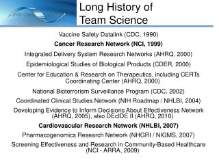 Vaccine Safety Datalink (CDC, 1990) Cancer Research Network (NCI, 1999)