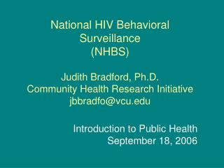 Introduction to Public Health September 18, 2006