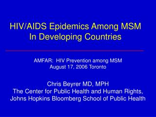 HIV/AIDS Epidemics Among MSM In Developing Countries