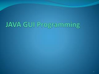 JAVA GUI Programming