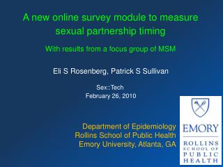 A new online survey module to measure sexual partnership timing