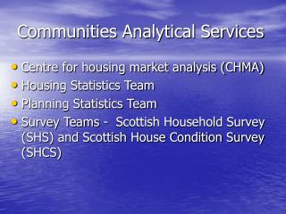 Communities Analytical Services