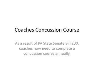 Coaches Concussion Course