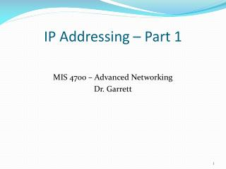 IP Addressing – Part 1