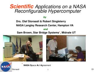 Scientific Applications on a NASA Reconfigurable Hypercomputer