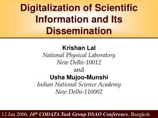 Digitalization of Scientific Information and Its Dissemination