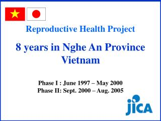 Reproductive Health Project  8 years in Nghe An Province Vietnam Phase I : June 1997 – May 2000