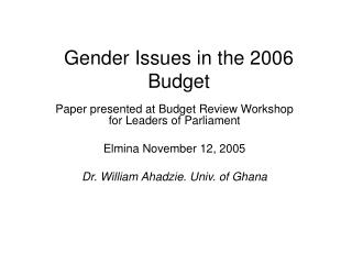 Gender Issues in the 2006 Budget