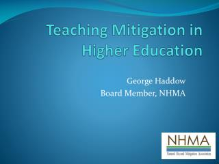Teaching Mitigation in Higher Education