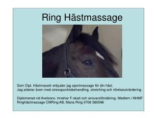 Ring Hästmassage