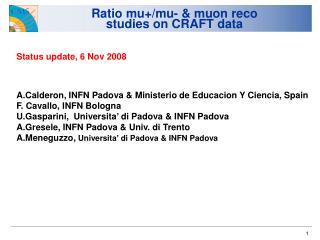 Ratio mu+/mu- & muon reco  studies on CRAFT data