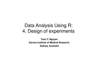 Data Analysis Using R: 4. Design of experiments