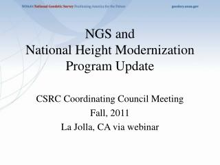 NGS and  National Height Modernization Program Update