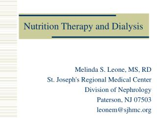 Nutrition Therapy and Dialysis