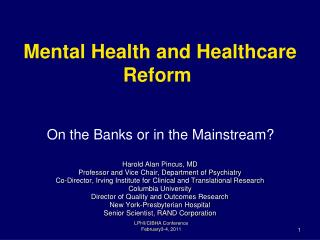 Mental Health and Healthcare Reform