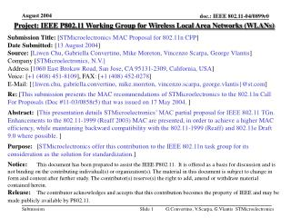 Project: IEEE P802.11 Working Group for Wireless Local Area Networks (WLANs)