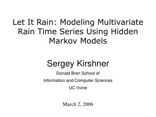 Let It Rain: Modeling Multivariate Rain Time Series Using Hidden Markov Models