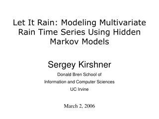 Let It Rain: Modeling Multivariate Rain Time Series Using Hidden Markov Models