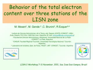Behavior of the total electron content over three stations of the LISN zone