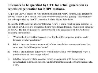 Tolerance to be specified by CTU for actual generation vs scheduled generation for NHPC stations.