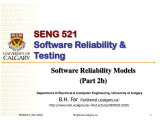 SENG 521 Software Reliability & Testing