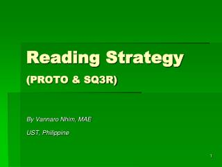 Reading Strategy (PROTO & SQ3R)