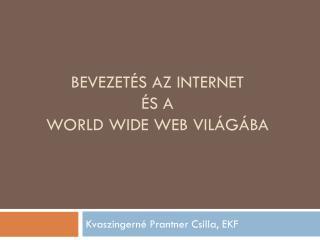 Bevezetés az Internet  és  a  World Wide Web világába