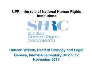 UPR � the role of National Human Rights Institutions