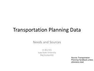 Transportation Planning Data