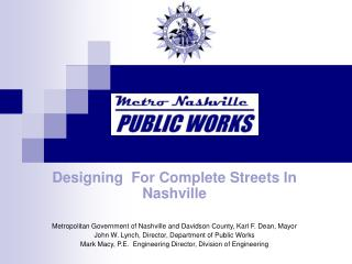 Designing  For Complete Streets In Nashville