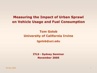 Measuring the Impact of Urban Sprawl  on Vehicle Usage and Fuel Consumption