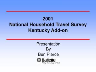 2001 National Household Travel Survey Kentucky Add-on