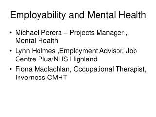 Employability and Mental Health