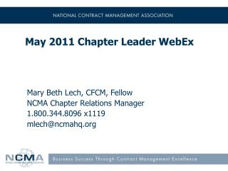 May 2011 Chapter Leader WebEx