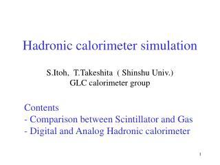 Hadronic calorimeter simulation