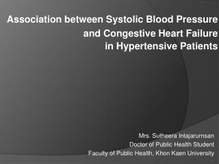 Association between Systolic Blood Pressure  and Congestive Heart Failure