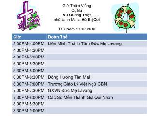 Giờ Thăm  Viếng Cụ Bà Vũ Quang Triệt nhũ danh  Maria  Vũ thị Côi Thứ Năm  19-12-2013