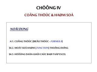 CHÖÔNG IV COÂNG THÖÙC & HAØM SOÁ